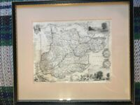 19thC Map of Essex with Vignettes of Chelmsford and Southend with Railways and Stations.