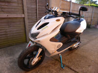 Yamaha Aerox YQ 50 cc, 57 reg, Mot Oct 2018, gloss white, lots of upgraded extras, see photos, £995