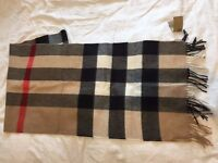 Burberry Scarf unused original 100% cashmere tags - Winter 16 collection RRP £415 w or w/o fringes