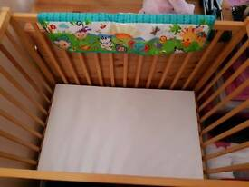 Kiddicare Compact Space saver Cot With Mattress L96xH90xW59.5cm