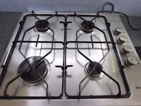 AEG GAS Hob 4 Burner Model 21602G-M Stainless Steel.Good Working Order Electronic Ignition.