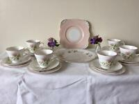 20 Pieces - 6 x Vintage Pink Floral Bone China Trios Tea Set + Cake & Bread & Butter Plates