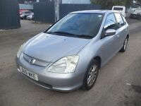 2001 Honda Civic SE Executive 1.6i VTEC Petrol 5 Door Hatchback Silver. Mileage 152K, 5 Months MOT.