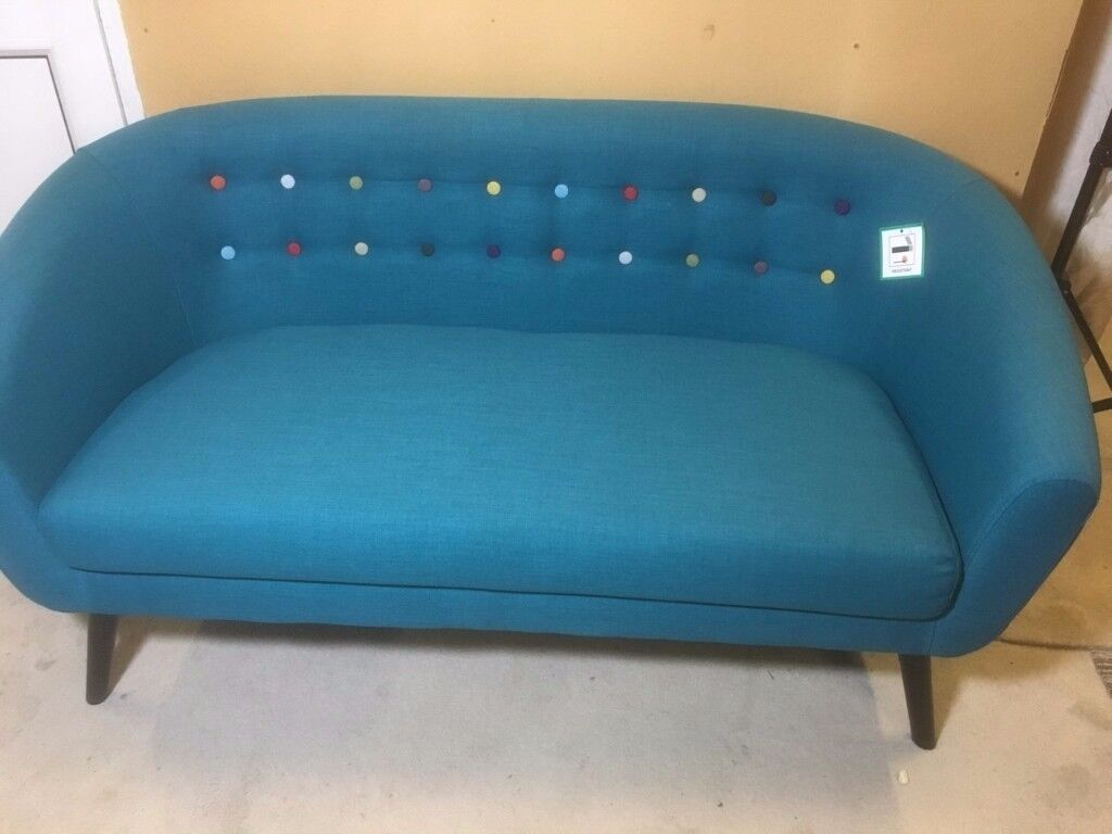 TWO SEATER BUTTON BACK TUB SOFA - TEAL | in Loughborough ...
