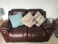 Brown full leather sofa