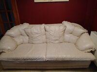 Cream leather sofas 3 piece