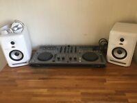 Pioneer DDJ-T1 with headphones and speakers ( Pioneer HDJ-1500-Pioneer SDJ 50X white)