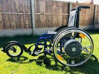 Alber E-motion M15 Power Wheels on Kuschall Compact folding wheelchair plus Freewheel attachment