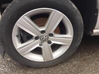 "Genuine vw golf mk7 16"" alloy wheels 5 spoke 5x112 caddy touran Passat tyres"
