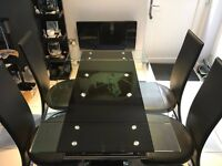 Glass Extending Dining Table & Hi-Back chairs (4)