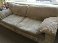 Two 3 seater sofas & foot stool