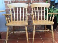 Pair of Pine Carver chairs