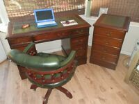 Antique Style matching Leather Desk, separate filing cabinet & Chesterfield Captain Chair