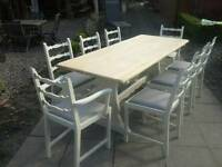Oak Table and 8 chairs, Shabby Chic