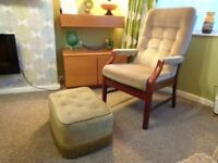 Cintique, Vintage Highback Armchair with Footstool.