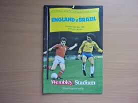 ENGLAND VS. BRAZIL. 1981 INTERNATIONAL FOOTBALL PROGRAMME. VERY GOOD CONDITION PROGRAMME.