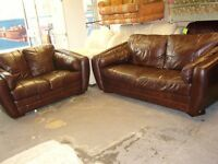 Dark Brown Leather 3 and 2 Seater Sofas Settees. 2 Piece Suite. Superb Quality