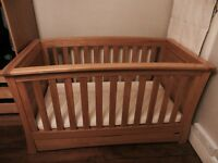 Superb Mamas & Papa Ocean Cot Bed in solid golden oak