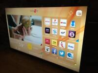 "Hitachi 48"" smart 4k Ultra WiFi freeview with line on screen"