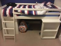 White cabin bed with pull out desk