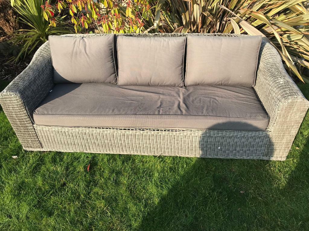Large rattan garden patio sofa damaged