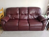 G Plan - Burgundy Leather - 3 Piece Suite with Reclining Armchair and Footstool
