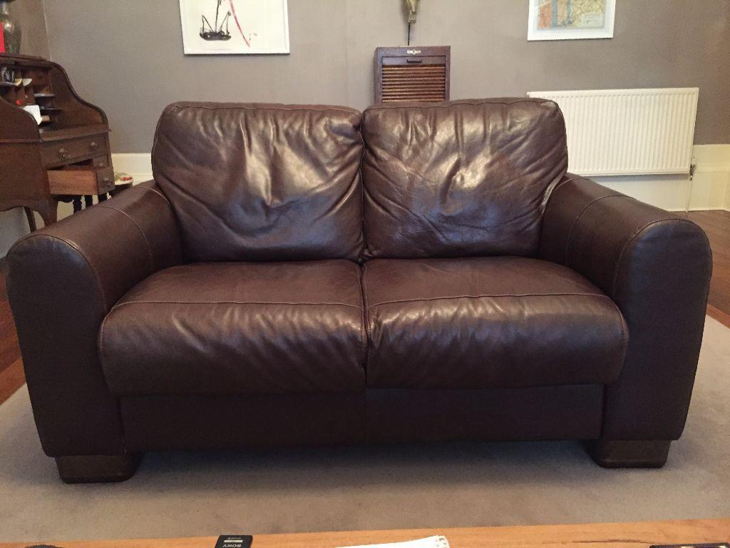 2 X Chocolate Brown Italian Leather Seater Sofas Sofitalia International