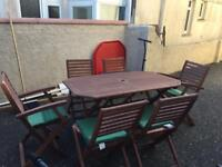 Wooden table and 6 chairs seat covers