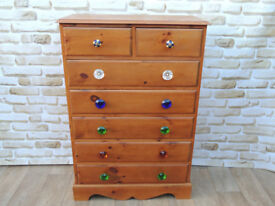 Quirky Tallboy Welsh pine chest of drawers (Delivery)