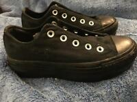 Converse, All Star, Size 3.5, All Black with Metalic Lace Holes.