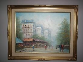 Original Oil Painting signed T Carson, Paris scene, gilt frame, excellent condition, 50x30cm