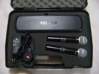Shure wireless dual microphone unit with flight case
