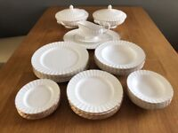 Lovely Dinner Set by Royal Worcester. Fine Bone China. White with ribbed edge, gold rim. 34 Pieces