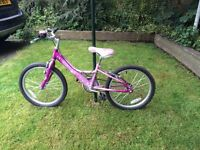 Childs bike , 16ins wheels , pink in colour ,