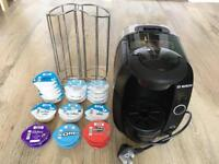 Tassimo hot drink machine (Bosch) with pods and a pod holder