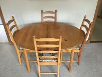 6 x Ercol 641 Dining Chairs, table (not Ercol)