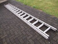 4m (approx.) Aluminium double extension ladder.