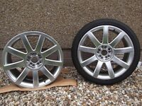 "2 x VW/Audi Style 18"" *9 Spoke Alloys , One Alloy with Tyre ( 5mm Tread) £90 O.N.O"