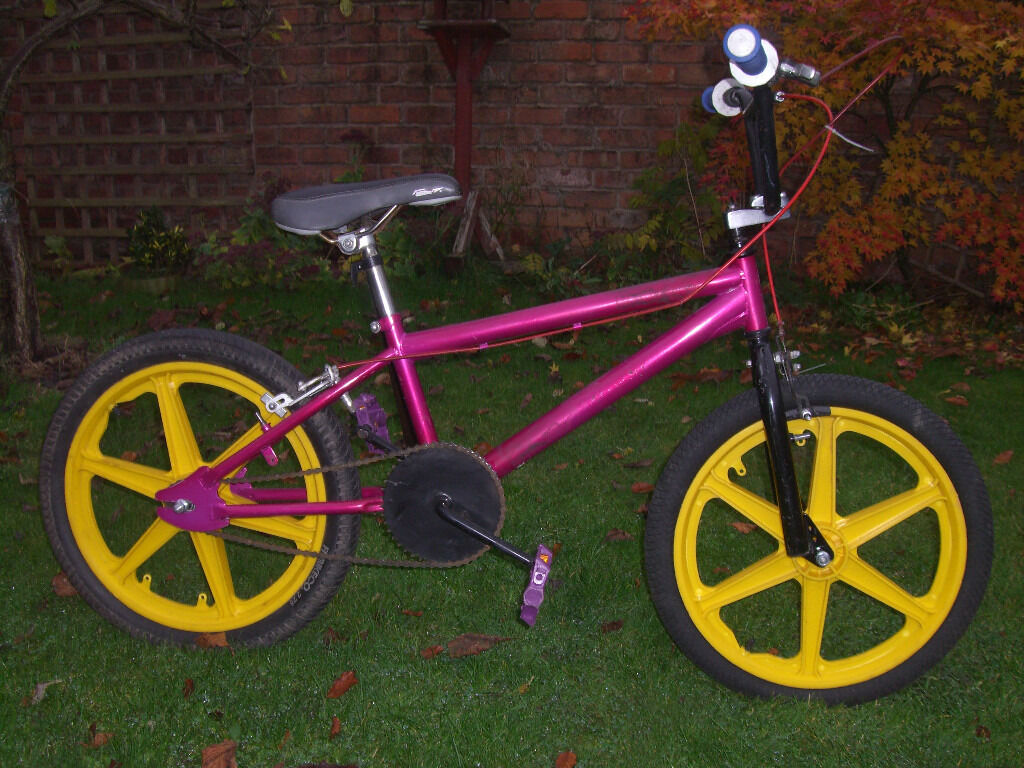 ONE OFF BMX ONE OF MANY QUALITY BICYCLES FOR SALEin Thurmaston, LeicestershireGumtree - ONE OFF BMX. GOOD CONDITION. CANDY PINK. 20 INCH YELLOW MAG WHEELS. GEL SEAT. FREE NEW LOCK INCLUDED. CAN DELIVER. CHECK OUT MY OTHER BIKES CLICK SEE ALL ADS TOP RIGHT OF PAGE