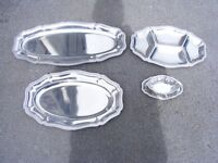 3 x Guy Degrenne stainless steel buffet platters and sauce boat. Inox. Largest 60cm long