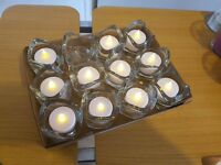 IKEA tea light glass 12 with flickering candles as new