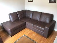 Quality leather, brown corner sofa suite.
