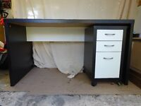 Black and white office desk and 3 drawer unit with glass top