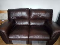 Dark brown leather 2 seater and 1 seater recliner sofa set for sale £150