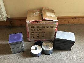150x Blank DVD-R discs and new unused DVD cases / CD boxes