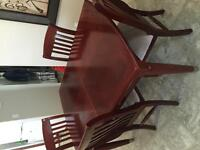 Cherry wood dining table with 4 chairs