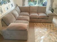 Silver grey Excellent condition jumbo cord corner sofa