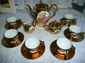 Gold Tea/Coffee Set with courting Couples