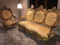 French Antique Furniture Set: 3 Seater & Single Chair