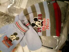 Mickey mouse hat and mittens